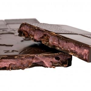 Tablette Chocolat Noir 61% - Fourrée Pâte d'amandes Framboises